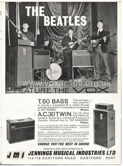 Beat Monthly (later Beat Instrumental) magazine, 1963, volume 2, Vox advert
