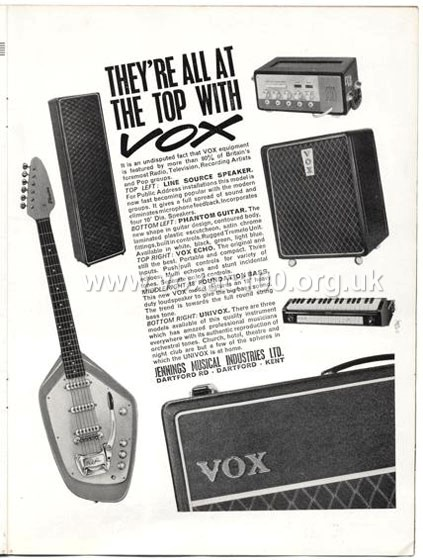 Beat Monthly (later Beat Instrumental) magazine, 1963, volume 5, Vox advert