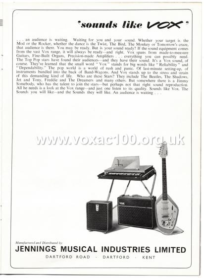 Beat Monthly (later Beat Instrumental) magazine, 1963, volume 7, Vox advert
