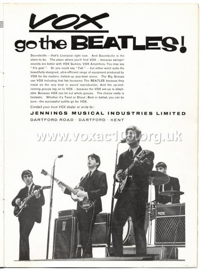 Beat Monthly (later Beat Instrumental) magazine, 1963, volume 8, Vox advert