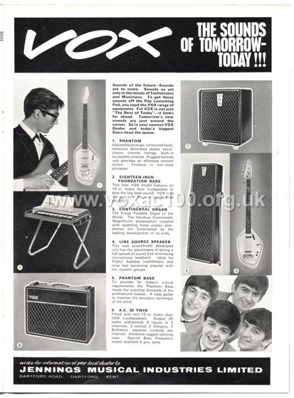 Beat Monthly (later Beat Instrumental) magazine, 1964, volume 9, Vox advert