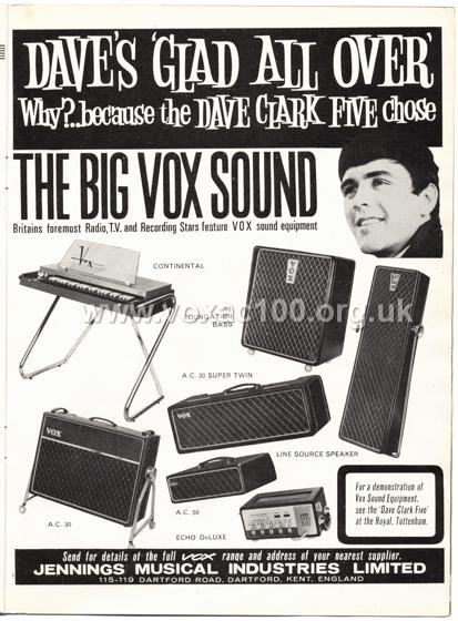 Beat Monthly (later Beat Instrumental) magazine, 1964, volume 11, Vox advert