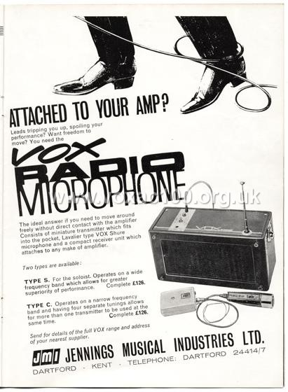 Beat Monthly (later Beat Instrumental) magazine, 1964, volume 14, Vox advert