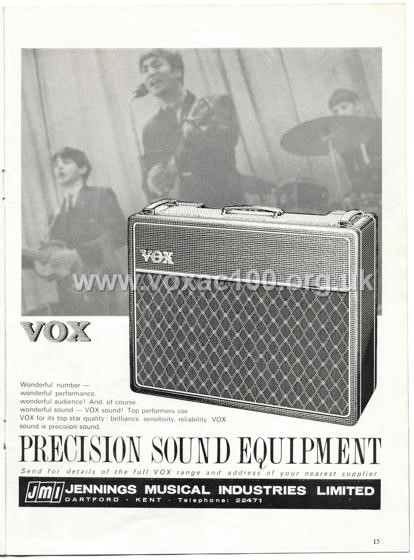 Beat Monthly (later Beat Instrumental) magazine, 1964, volume 16, Vox advert