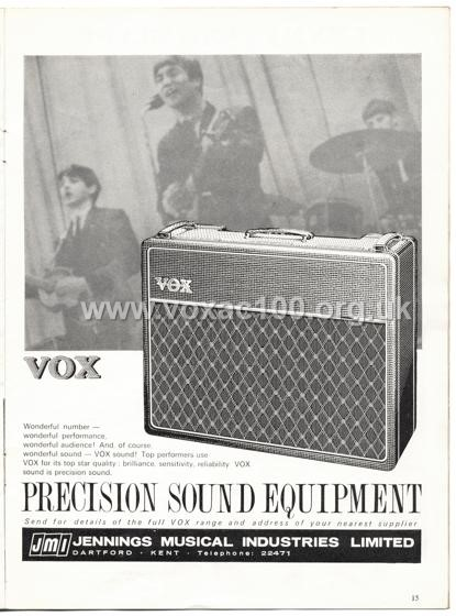 Beat Monthly (later Beat Instrumental) magazine, 1964, volume 17, Vox advert