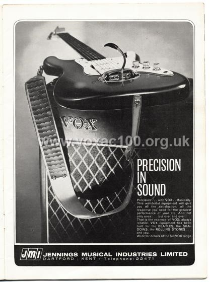 Beat Monthly (later Beat Instrumental) magazine, 1964, volume 19, Vox advert