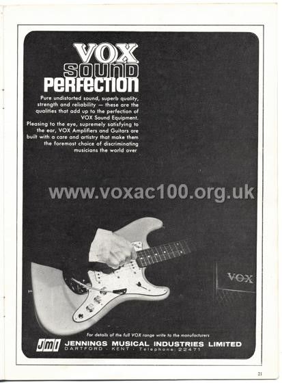 Beat Monthly (later Beat Instrumental) magazine, 1964, volume 20, Vox advert
