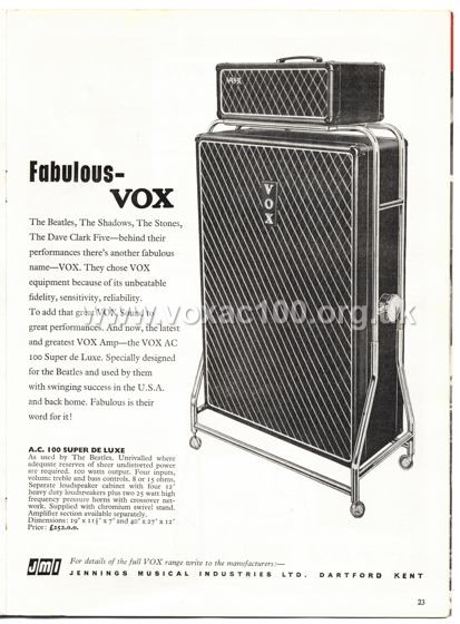 Beat Monthly (later Beat Instrumental) magazine, 1965, volume 23, Vox advert
