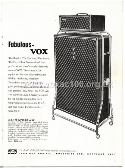 Beat Monthly (later Beat Instrumental) magazine, 1965, volume 24, Vox advert