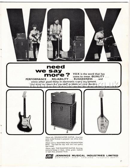 Beat Monthly (later Beat Instrumental) magazine, 1965, volume 28, Vox advert