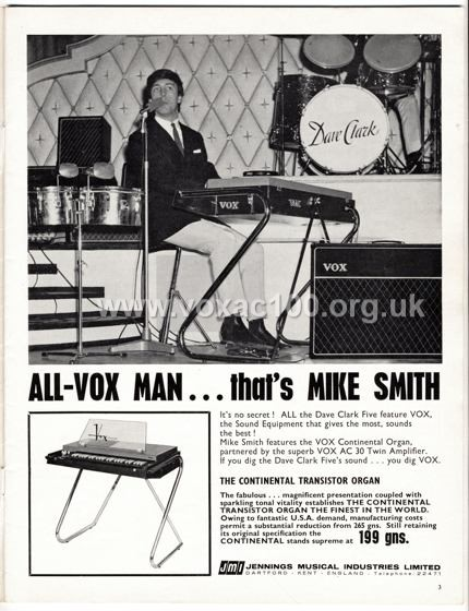 Beat Monthly (later Beat Instrumental) magazine, 1965, volume 29, Vox advert