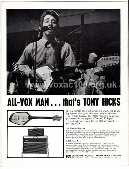 Beat Monthly (later Beat Instrumental) magazine, 1965, volume 31, Vox advert