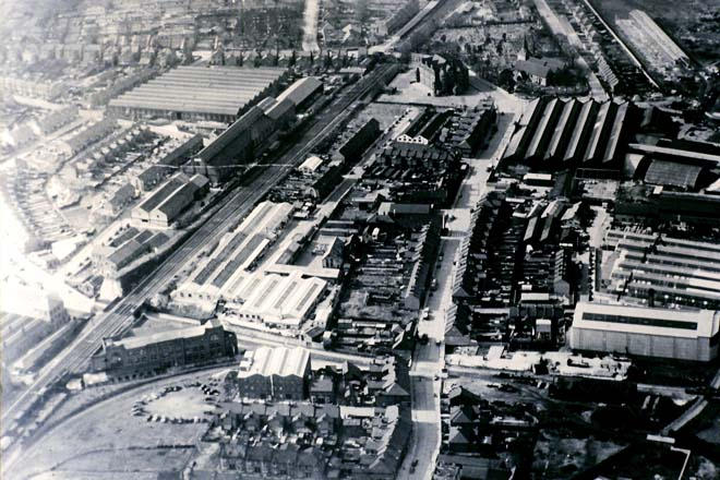 Vox Works, Burndept Factory, West Street, Erith, seen from above
