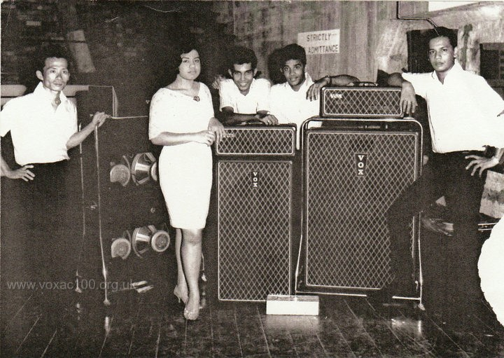 Naomi and the Boys with three AC100s, 1966