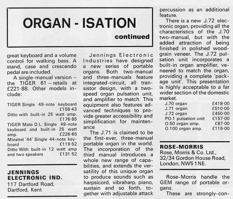 Jennings Electronic Industries equipment, Beat Instrumental overview of organs, December 1971
