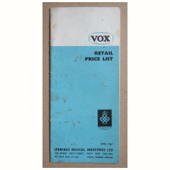 Vox Retail Price List 1967