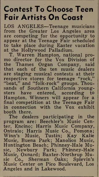 Cash Box magazine, 9th April, 1966