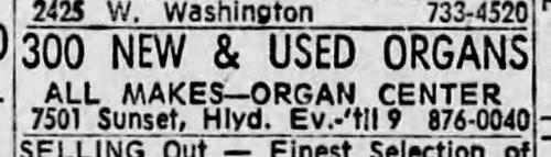 LA Times, 10th November 1967, still the Organ Center, 7501 Sunset