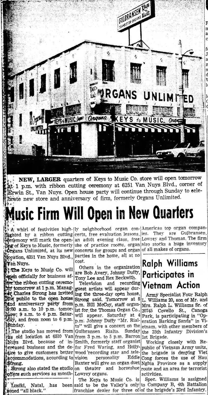 Valley News, 16th November, 1967, article on Van Nuys, Keys to Music