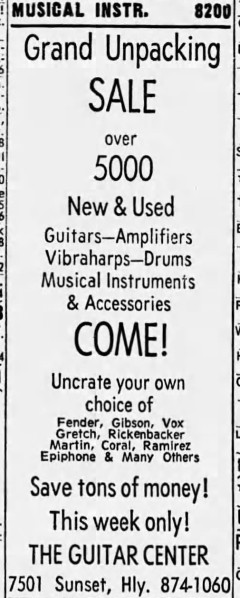 LA Times, 20th January 1968, the new Guitar Center