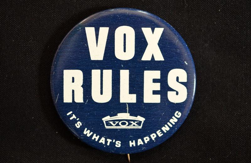 Vox badge (button), Thomas Organ, 1966