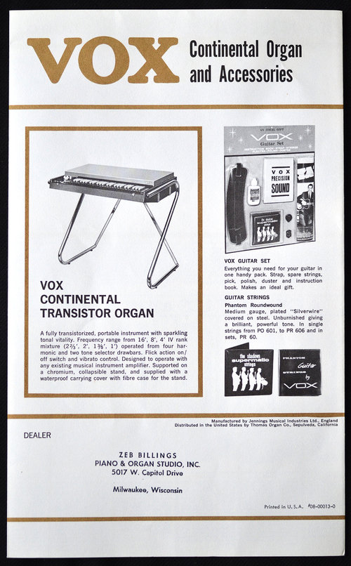Vox Catalogue (Catalog), late 1964