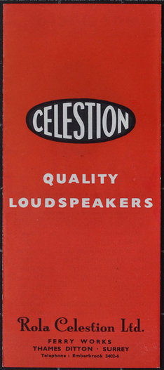 Celestion speaker leaflet from 1956