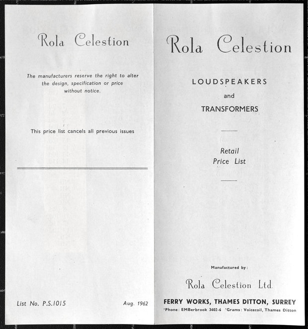 Celestion price list, August 1962