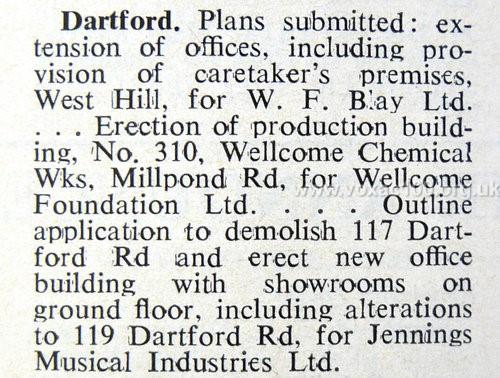 Planned development, Jennings Dartford Road factory