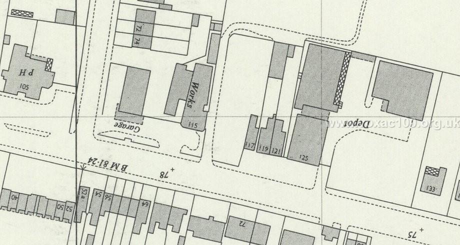 Plan of Jennings Musical Industries (JMI) buildings at 115-119 Dartford Road, map