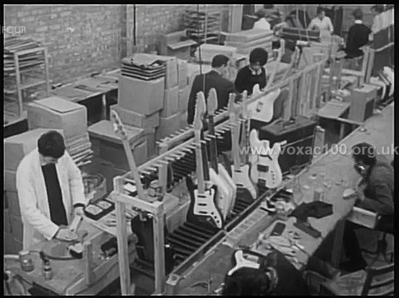 Guitar production in the JMI factory at 115 Dartford Road