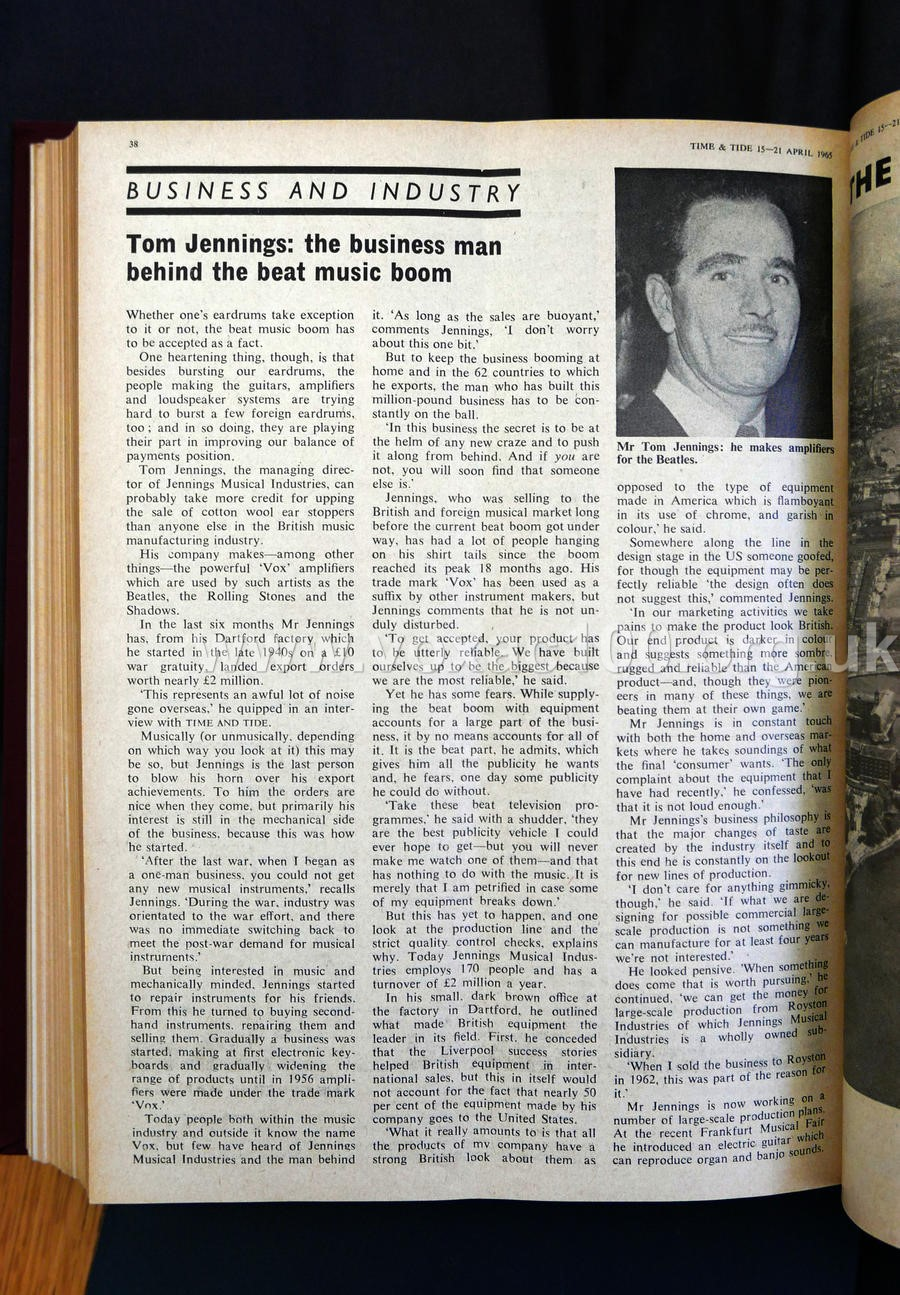 Piece on Tom Jennings, Time and Tide magazine, April 1965