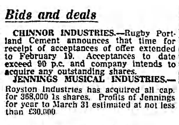 The Guardian newspaper, note on Jennings and Royston Industries, January 1963