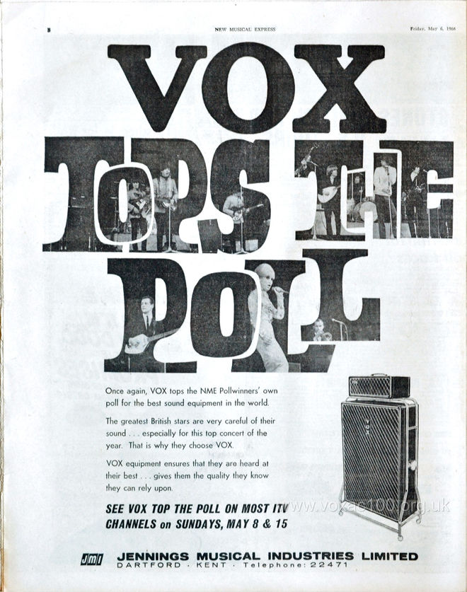 Vox advert in New Musical Express magazine, 6th May 1966