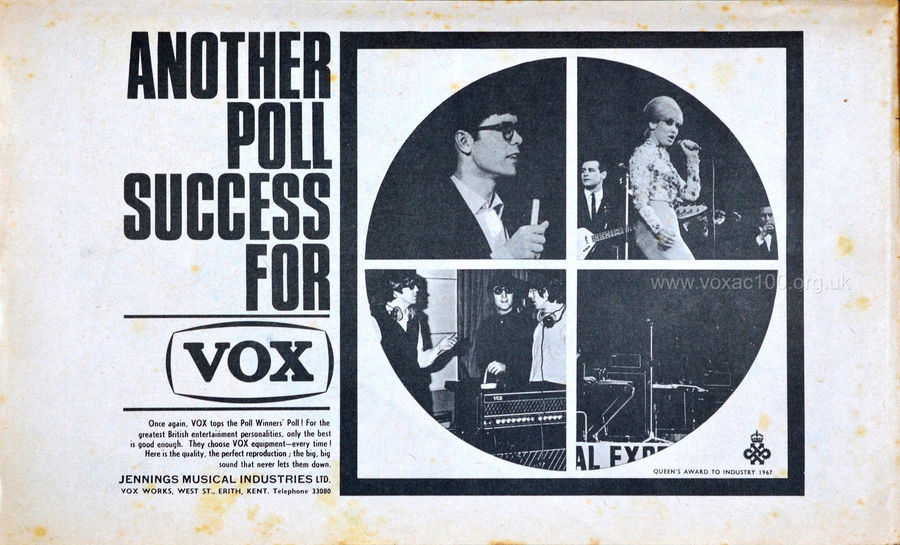 Vox advert in the New Musical Express magazine, 13th May, 1967