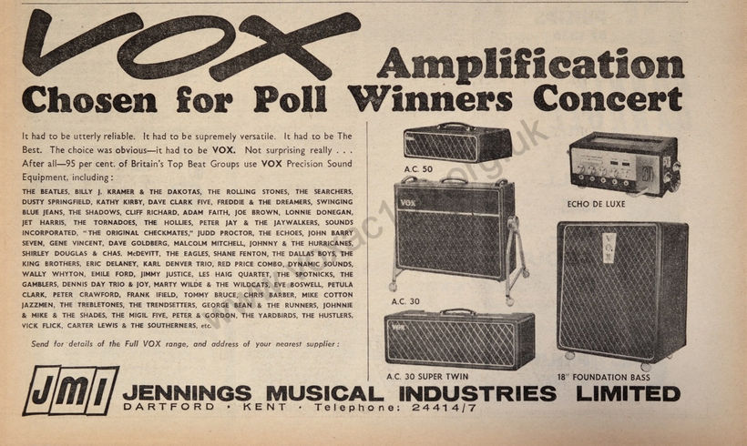 Vox advert for the 1964 Poll Winners Concert