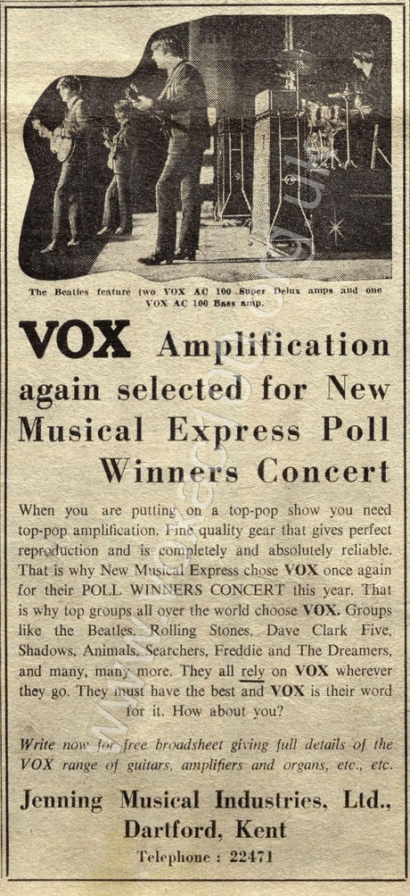 Vox advert for the 1965 Poll Winners Concert
