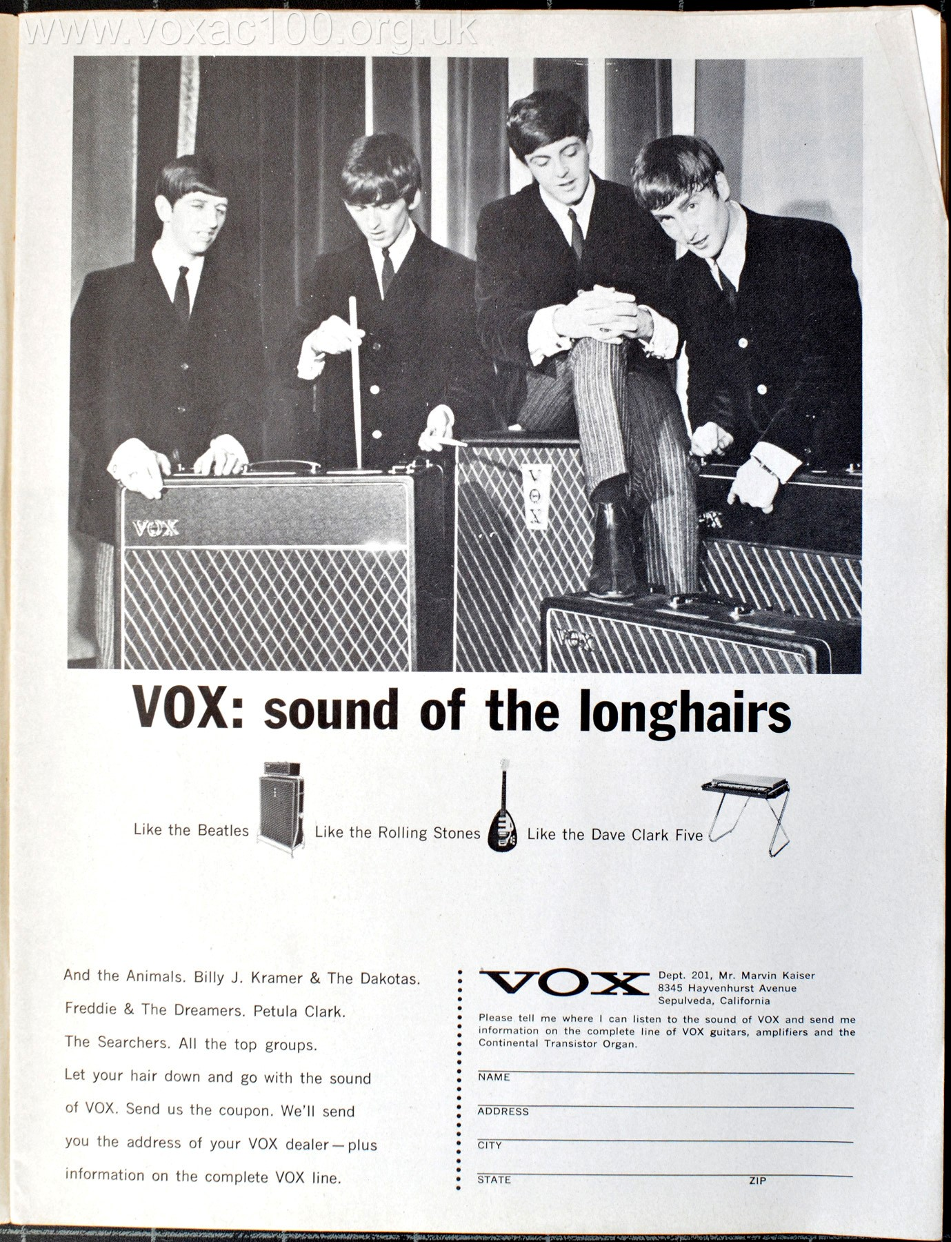 Vox advert, Downbeat magazine, September 1965