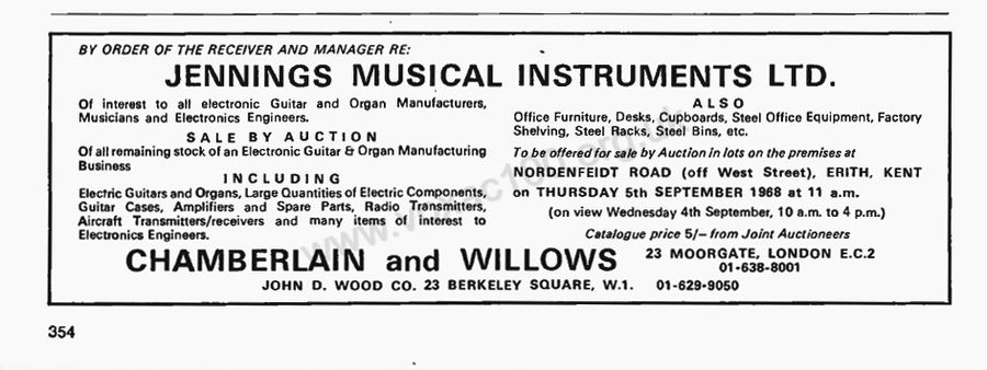 Vox - Jennings Musical Industries - at auction in September 1968