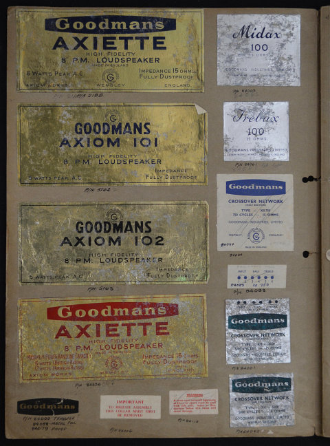 A volume of speaker labels, logos and promotional material for Goodmans speakers