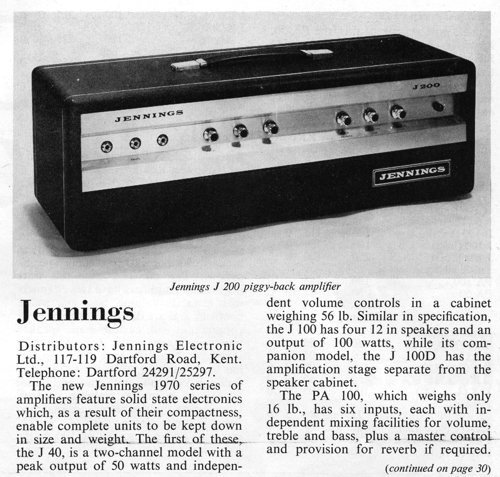 Jennings Electronic Industries, Focus on Amplifiers