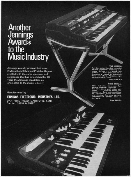 Jennings Electronic Industries, advert in Beat Instrumental magazine, January 1970