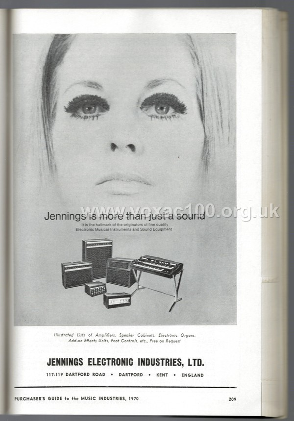 Jennings Electronic Industries, Purchasers Guide to the Music Industries, 1970 - JEI advert