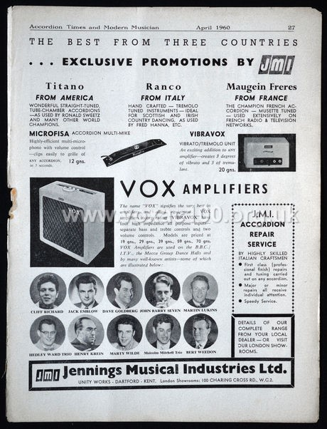 Accordion Times, April 1960, Jennings Musical Industries page