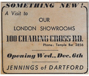 Melody Maker magazine, December 1950, the opening of the Jennings shop