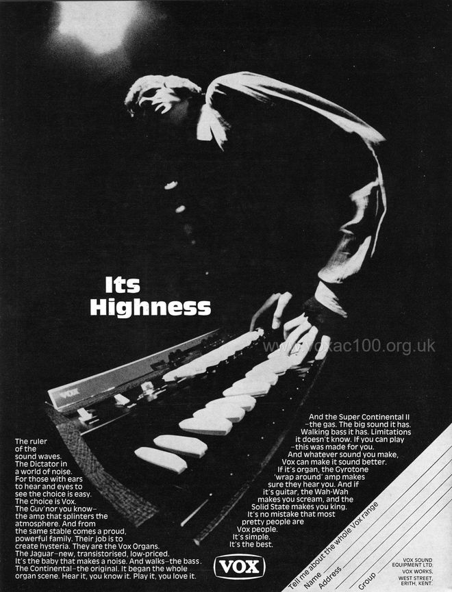 Beat Instrumental magazine, September 1968, advert for Vox organs