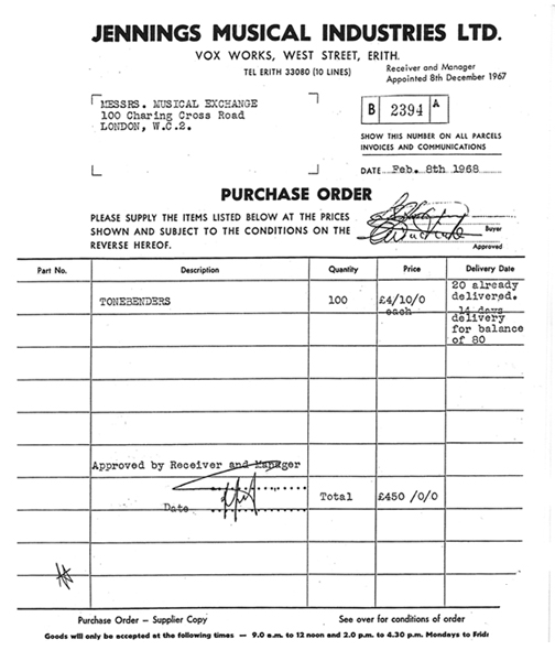 Purchase Order, February 1968