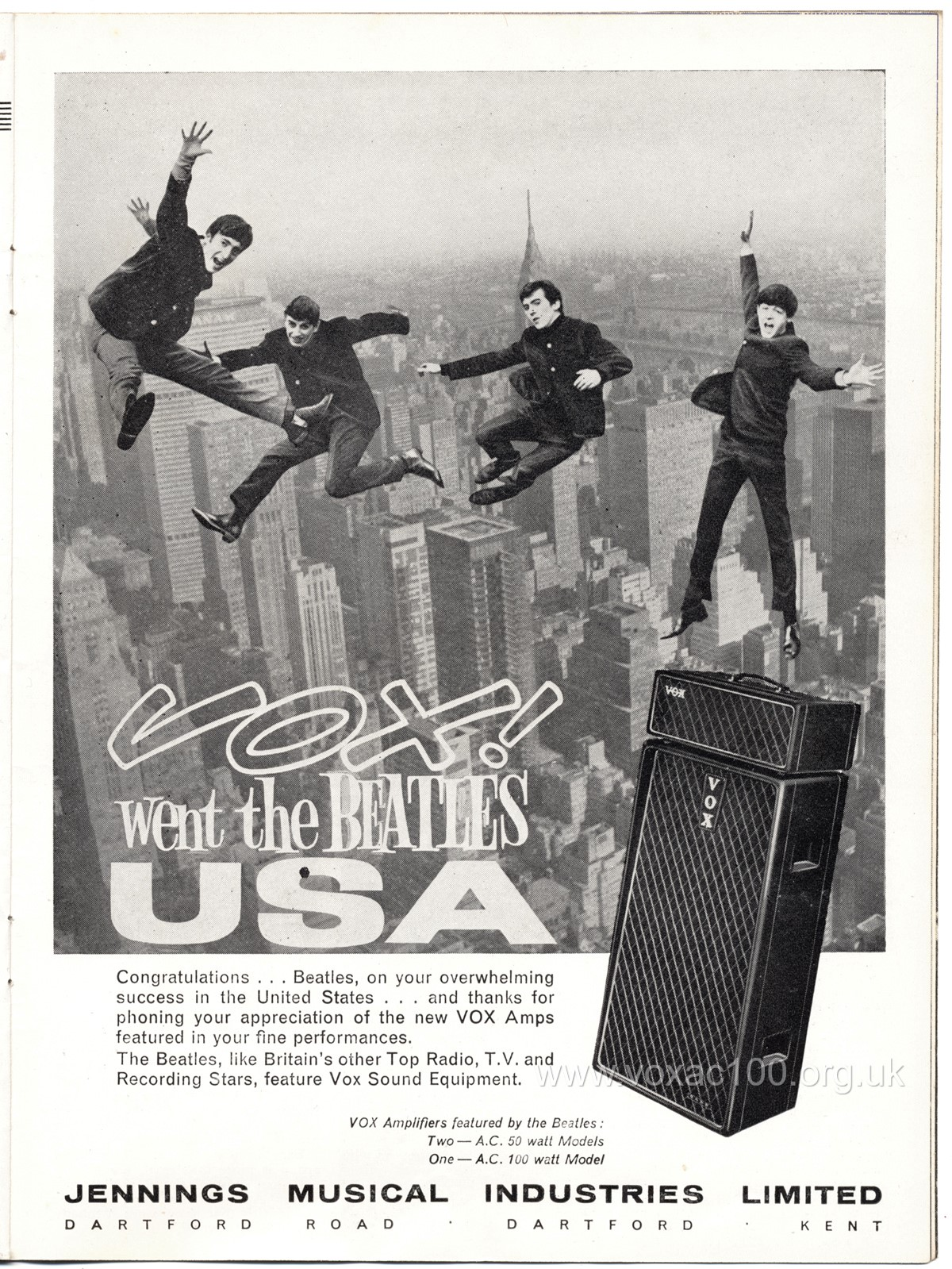 Second Vox advert for the Beatles in America, February 1964