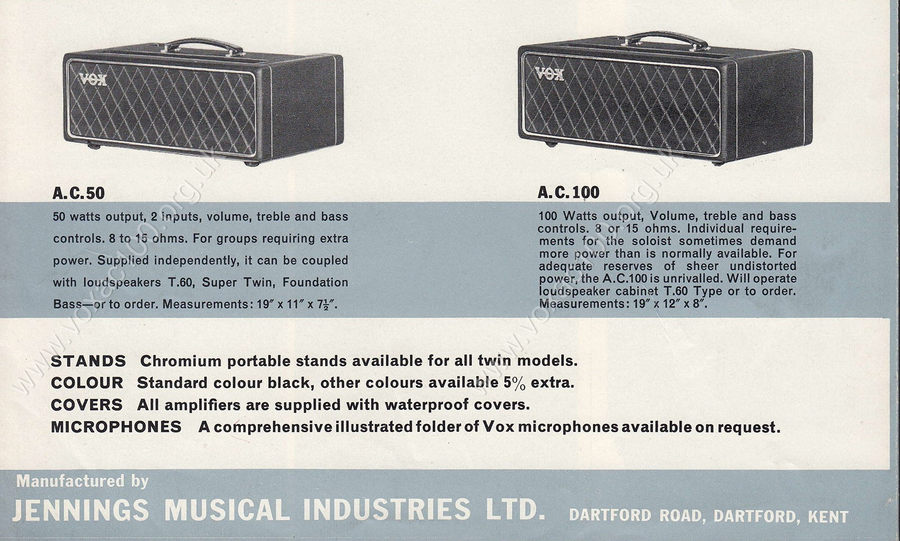 Vox catalogue, early 1964