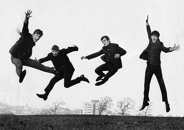 Dezo Hoffman photo, March 1963, the Jumping Beatles